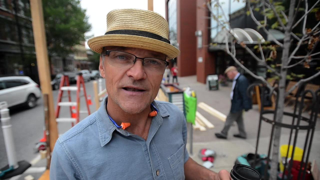"AARP Vermont and the BBA partnered to bring Burlington its first pop-up park, called a ""Parklet"" because it's built in two downtown parking spaces."