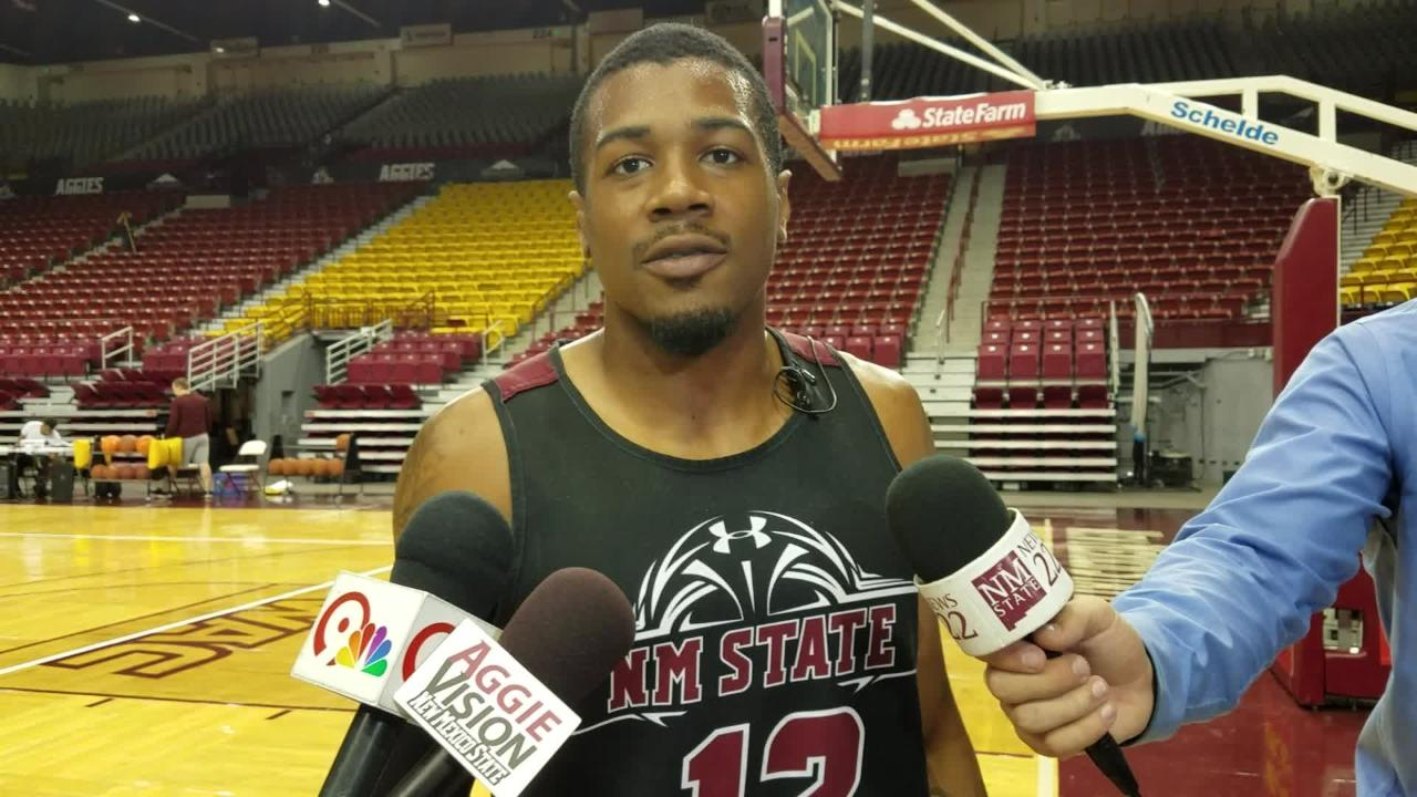 New Mexico State guard AJ Harris on the first day of Aggies practice Tuesday at the Pan American Center.