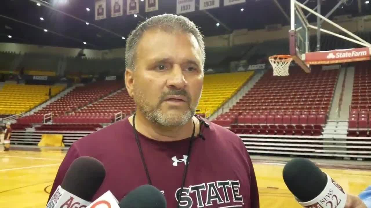 New Mexico State head coach Chris Jans on first day of Aggies basketball practice on Tuesday at the Pan American Center.