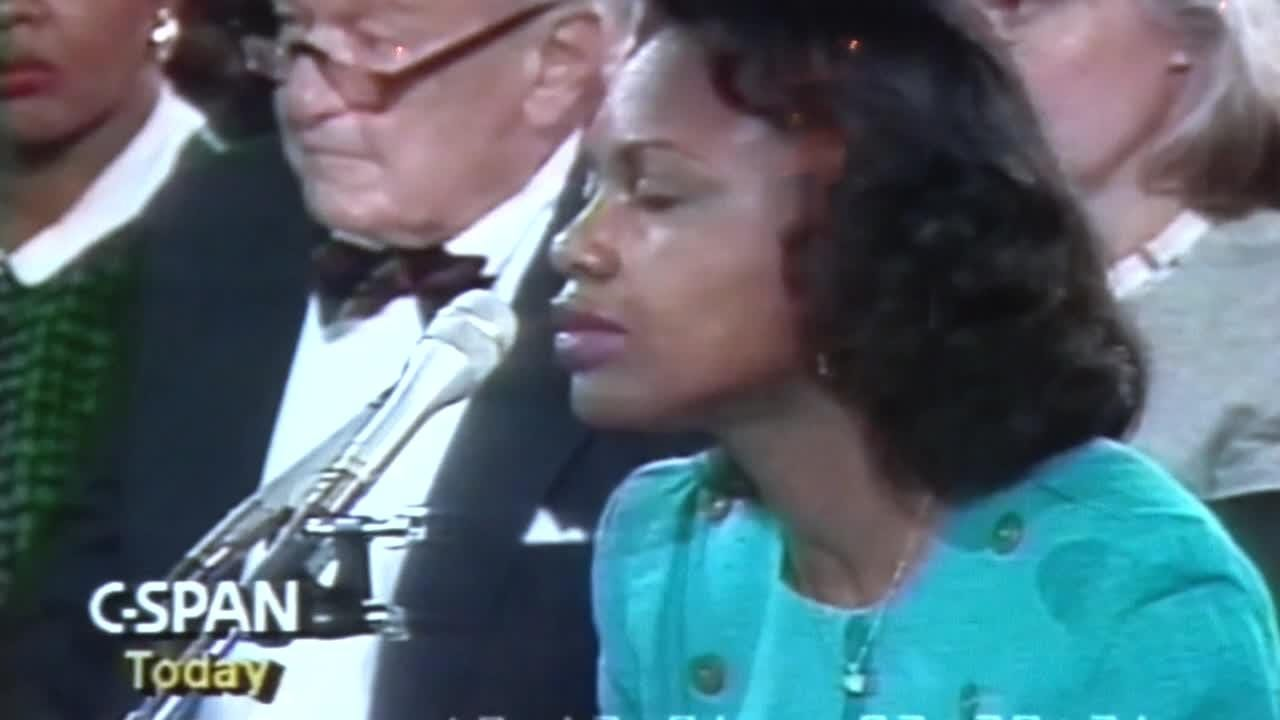 In this C-SPAN video from 1991, Sen. Patrick Leahy, D-VT, questions Anita Hill about sexual harassment allegation she made against Clarence Thomas.