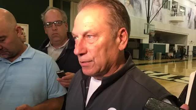 Michigan State basketball coach Tom Izzo addresses the media on the first day of practice for the 2018-19 season.