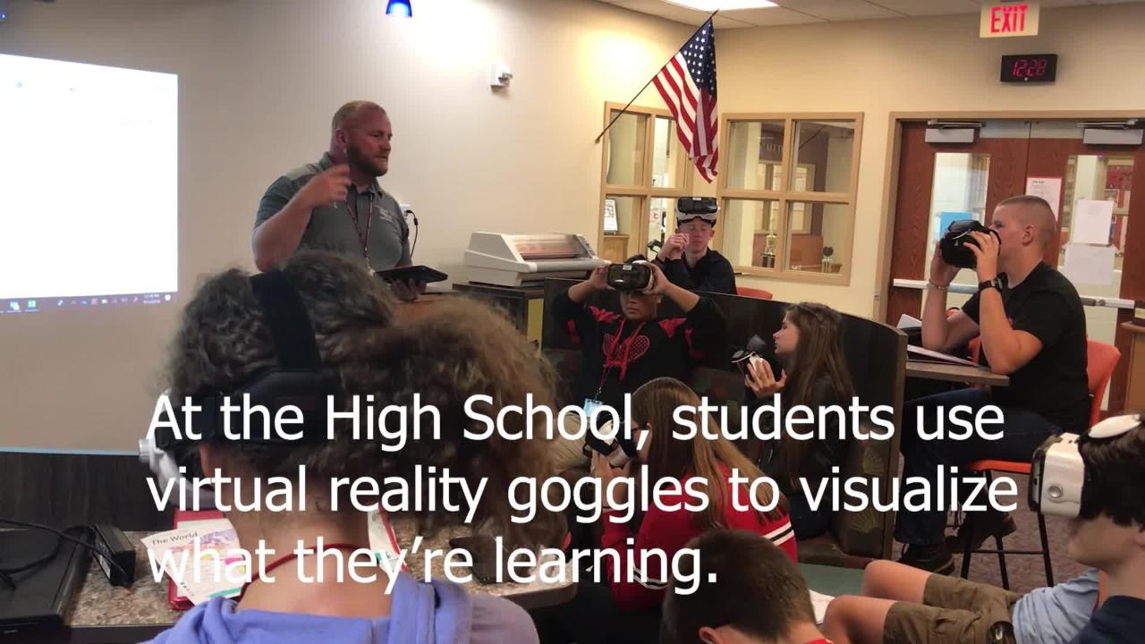 A tour of Annville-Cleona's STEM and STEAM (STEM plus Arts) initiatives include virtual reality goggles, an engineering sandbox and 3rd grade lessons.