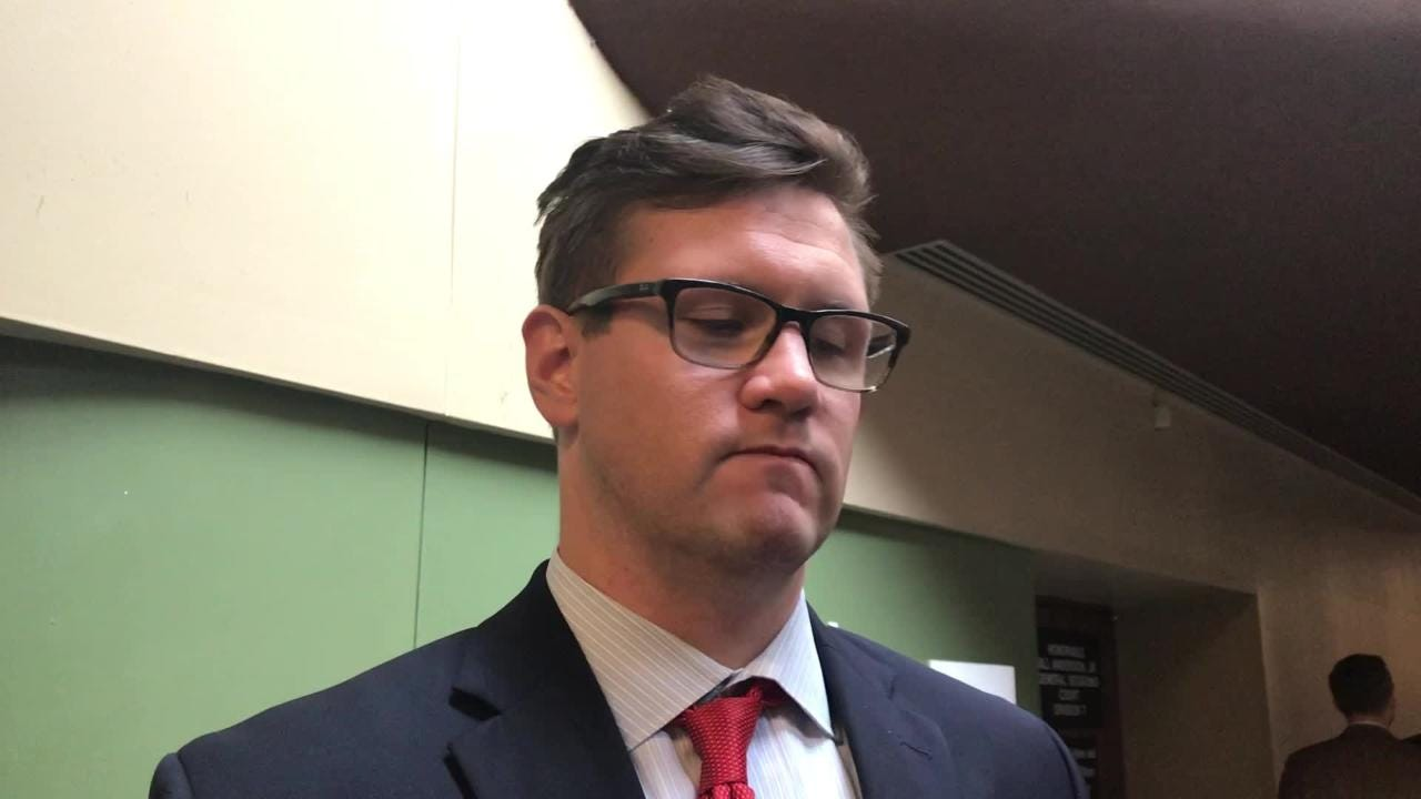 Attorney Jacob Brown explains why it is unclear why activist Keedran Franklin was arrested before his bench trial on Thursday.