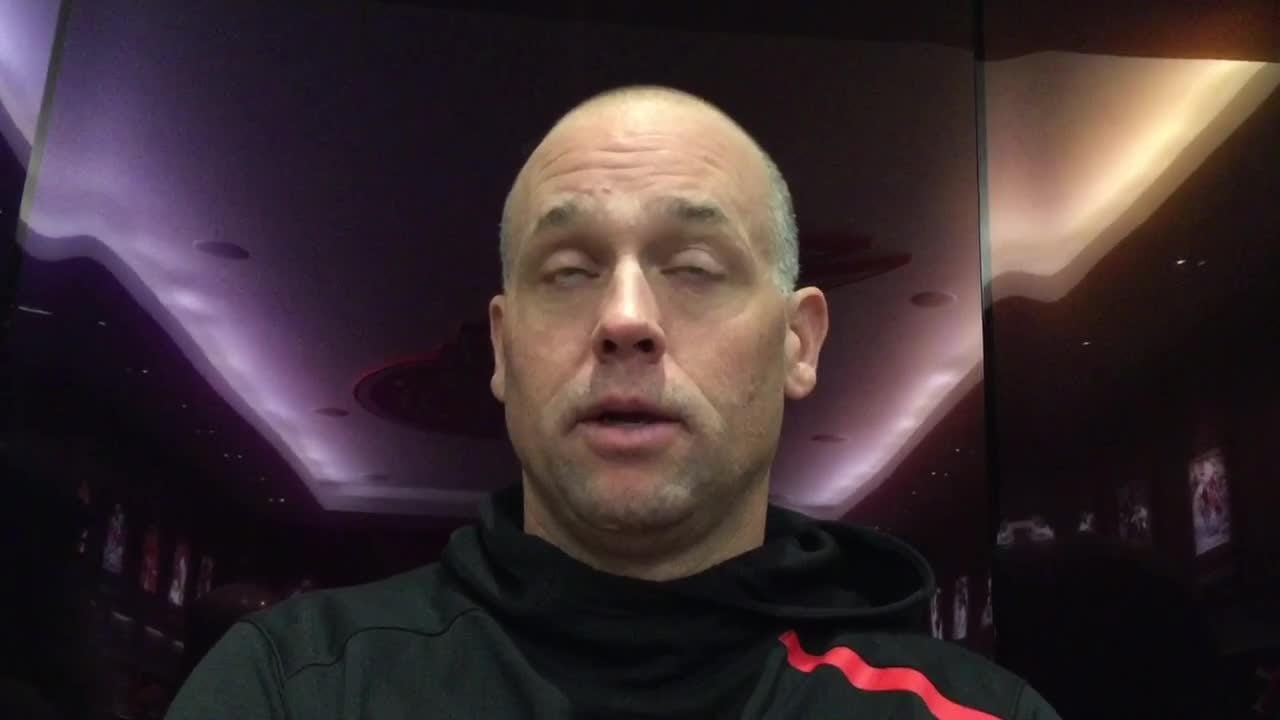 Detroit Red Wings coach Jeff Blashill on what has gone right in preseason, opportunity in last two games at Little Caesars Arena on Sept. 27, 2018.