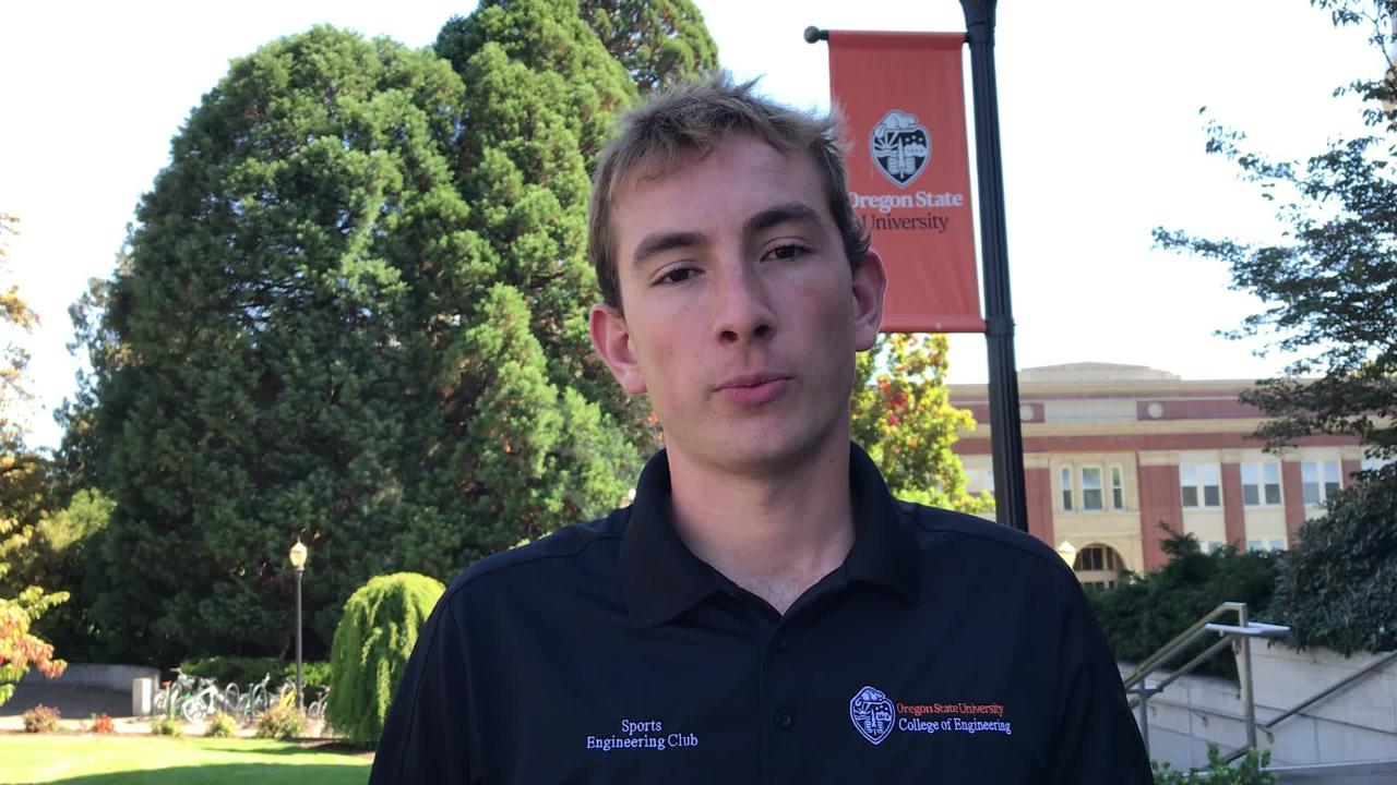 """Oregon State's Tim Slama talks about appearing on Golf Channel's """"Driver vs Driver 2"""" on Sept. 25, 2018."""