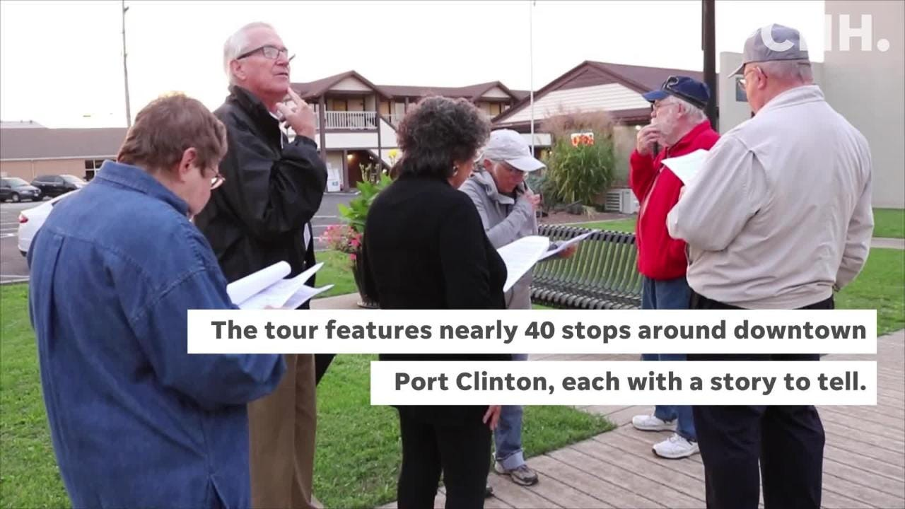 On Thursday, the Art Walk hosted a historical walking tour of downtown Port Clinton led by William and Mary Gordon.