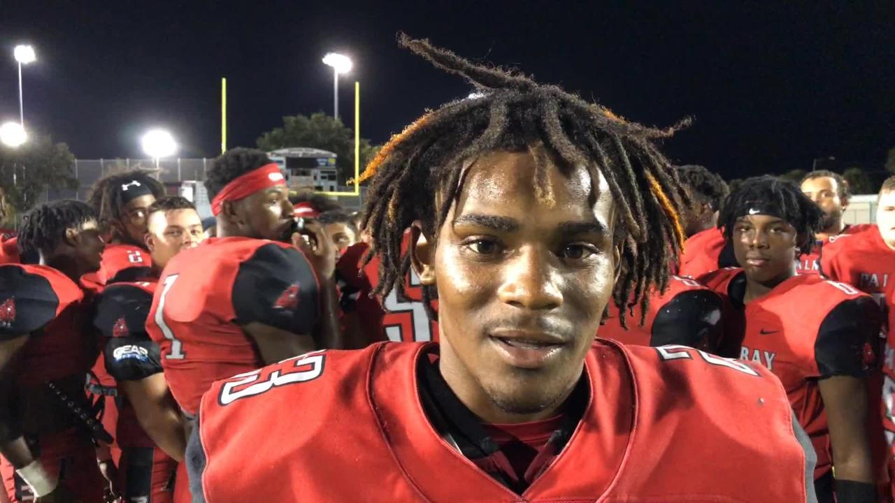 Palm Bay's Ja'Kobe Rutland talks about how the Pirate defense played Friday against Merritt Island.