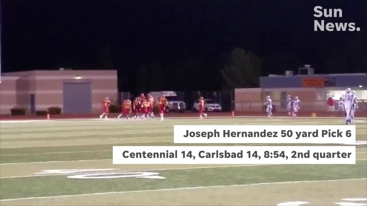 Centennial beat Carlsbad 35-27 Friday night at the Field of Dreams to improve to 6-0 on the season.