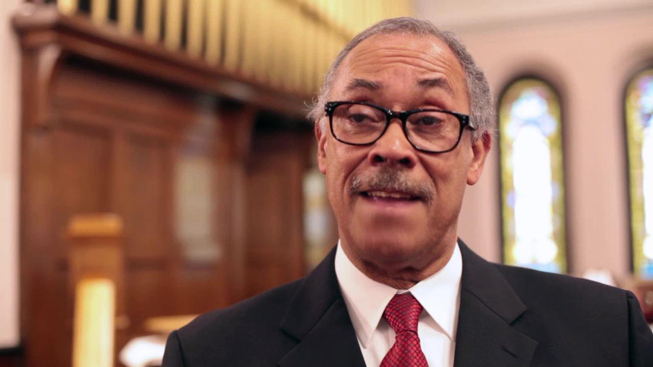 The Rev. Edward Scott of Allen Chapel AME Church explains what motivated a prayer session Sept. 28 in Staunton.