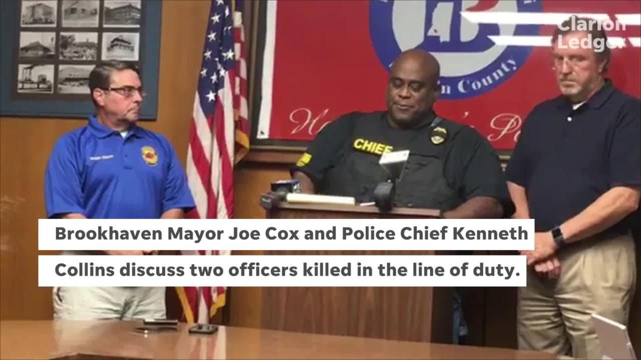 Brookhaven Mayor Joe Cox and Police Chief Kenneth Collins discuss the killing of police officers James White and Zach Moak on Saturday, Sept. 29, 2018.