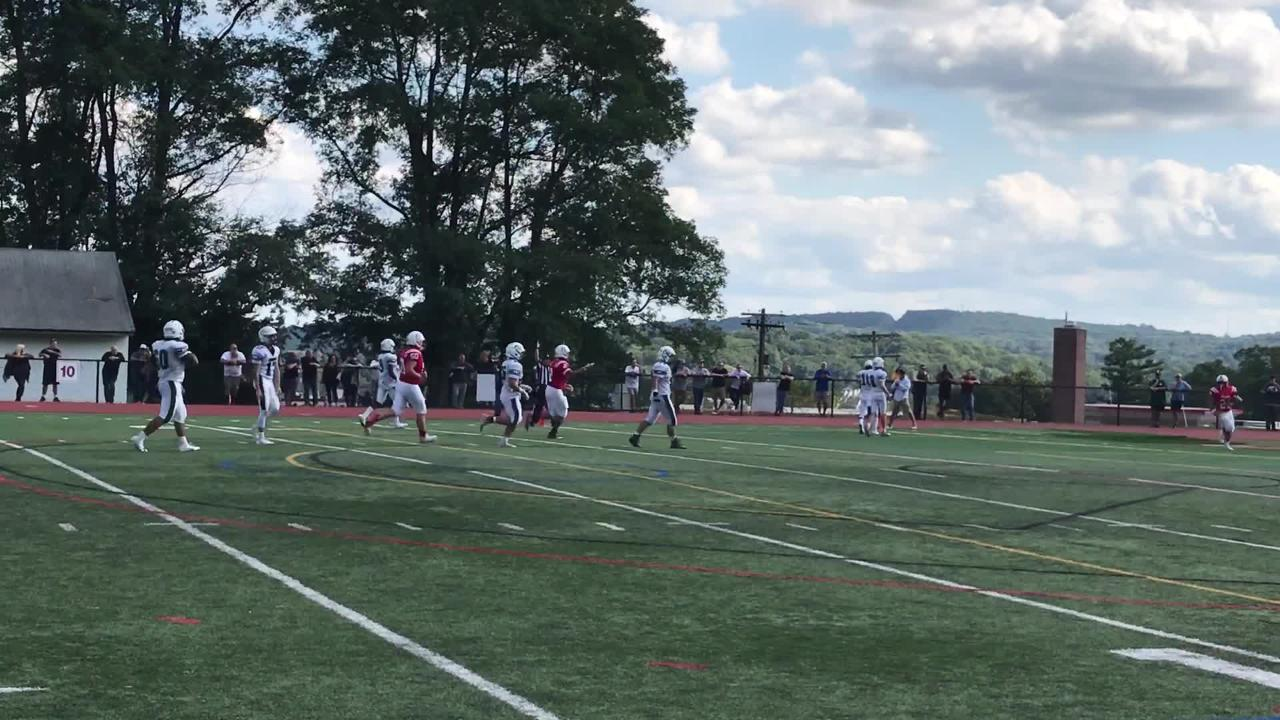 Morris Hills' Angelo Macera dashed for a 37-yard touchdown in the third quarter to give the Knights a 48-20 lead.