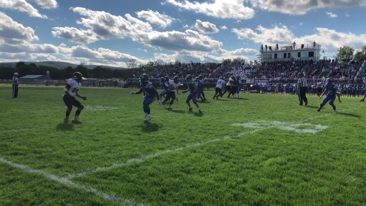 Riley Loomis of Horseheads ran for four touchdowns and Justin Rodriguez of Corning made a diving TD catch in Horseheads' 28-21 win Sept. 29, 2018.