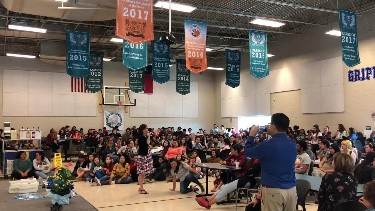 Students at Northwest Early College High School learned their campus was designated as a 2018 National Blue Ribbon School on Monday in Canutillo.