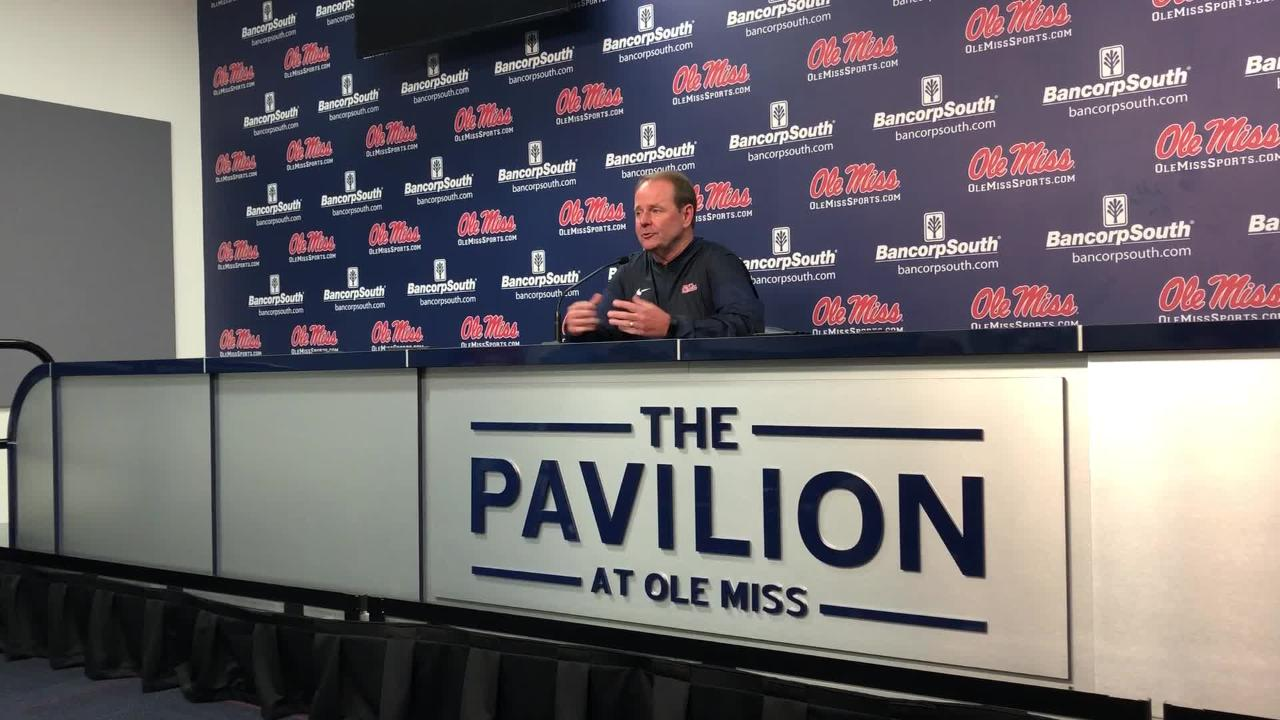 Ole Miss basketball coach Kermit Davis gives an opening statement at Media Day Monday, Oct. 1.