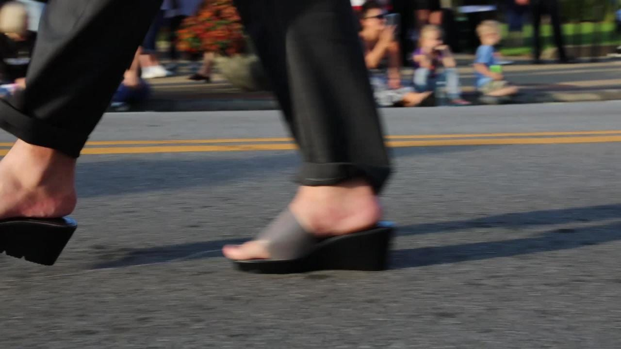"""Walk a mile in my Shoes"""" for Transitions domestic violence shelter was held Monday evening"""