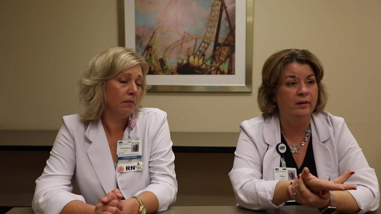 Nurse navigators Holly Hooks  and Cathy Zeller talk about how breast cancer is not just a woman's disease and occurs in male patients as well.