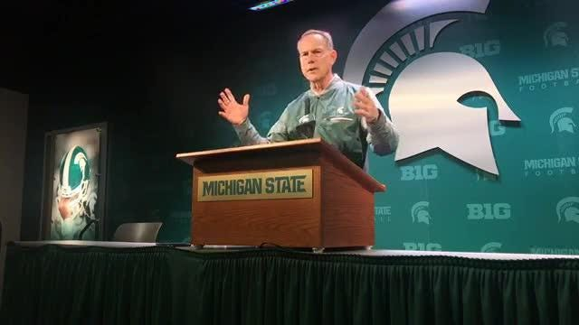 Michigan State coach Mark Dantonio speaks to the media on Tuesday, Oct. 2, 2018, in East Lansing.