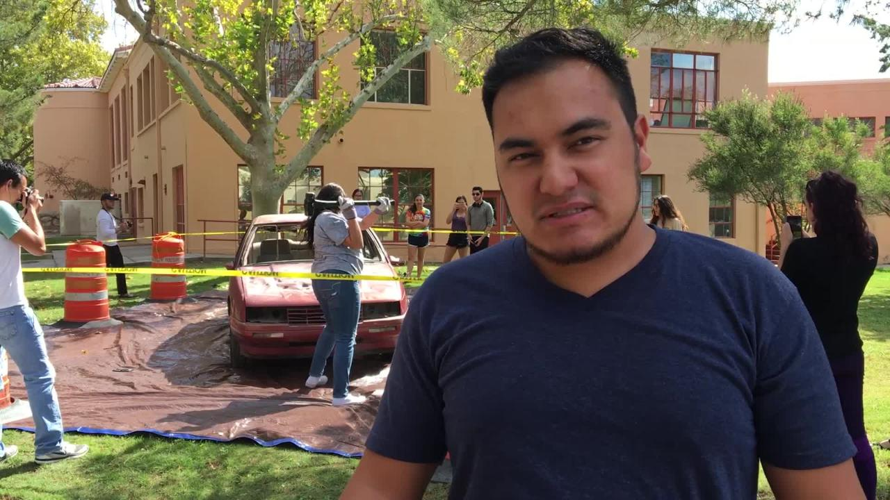 ASNMSU provided the opportunity for NMSU students to take out any stress they  might have on a car, Tuesday, October 2, 2018. The Car was set up as a fundraiser for the Aggie Cupboard. Students could pay with school supplies or 25 cents for one hit or $1 for four hits with a sledgehammer on the car.
