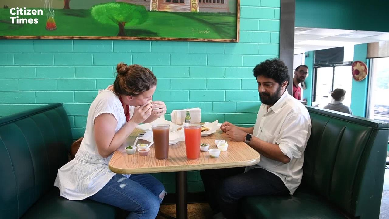 Food writer Mackensy Lunsford and Chai Pani owner Meherwan Irani start their tour of West Asheville strip mall food at Taqueria Muñoz.