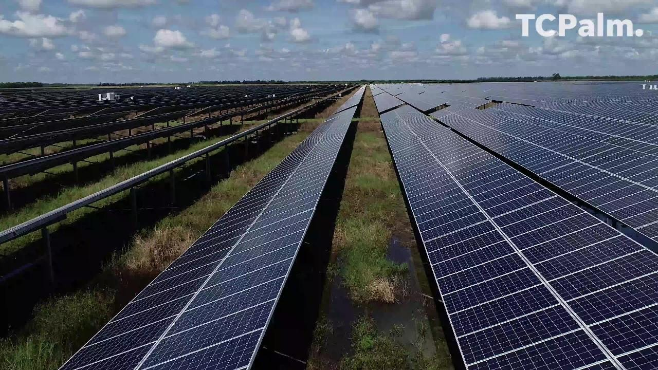 Aerial view of solar panels at Florida Power & Light Indian River facility