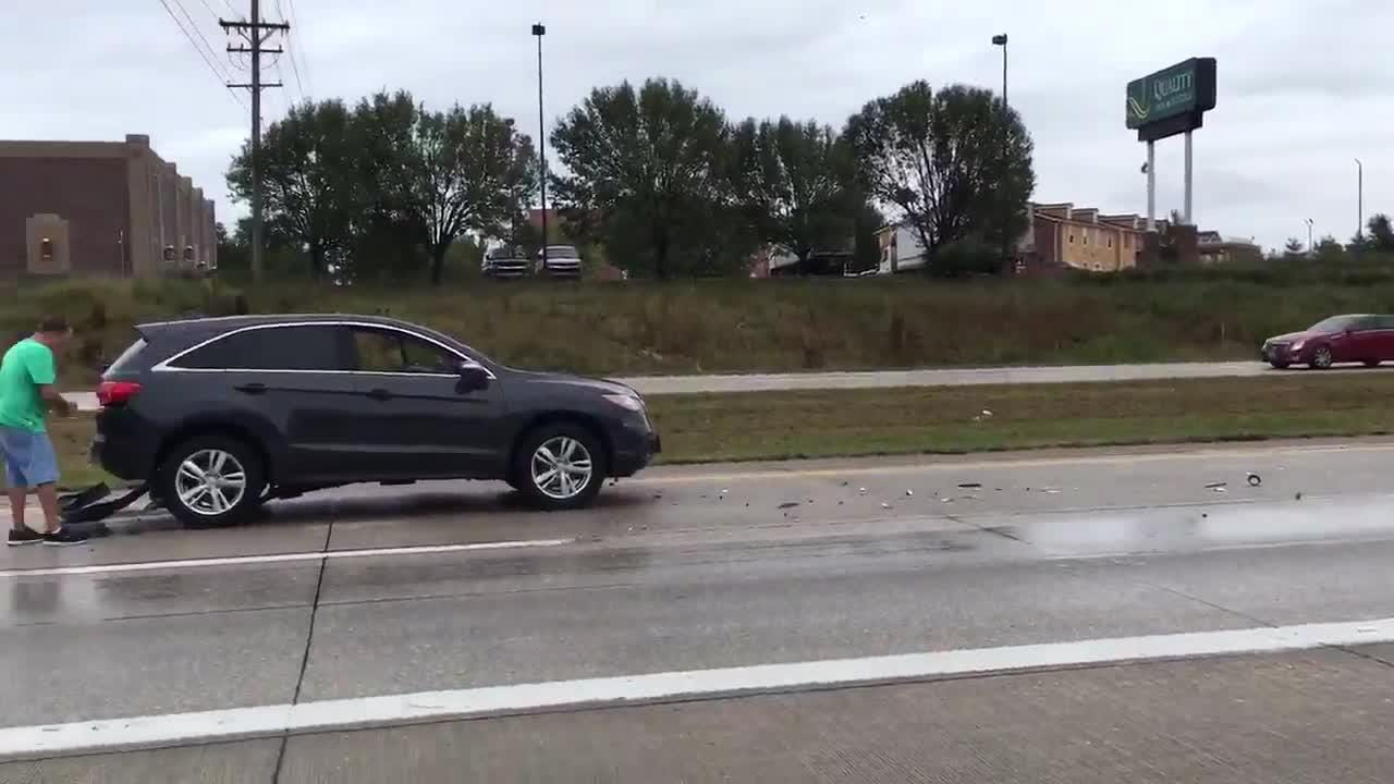 A multi-car crash shut down traffic on eastbound U.S. 60
