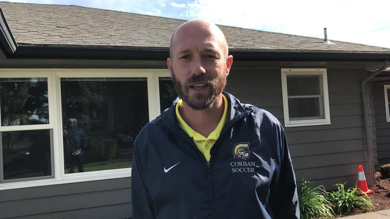 Corban's Aaron Lewis talks about coaching at his alma mater on Oct. 3, 2018.