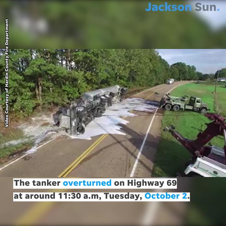 Hardin County Fire Department recorded wrecker services flipping an overturned tanker back on its wheels.