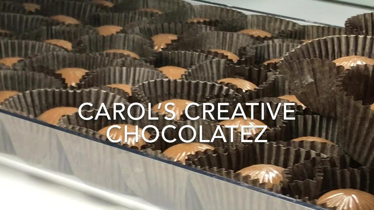 Carol Freedman, co-owner Carol's Creative Chocolatez, speaks about some of the chocolates at her Somerville shop.