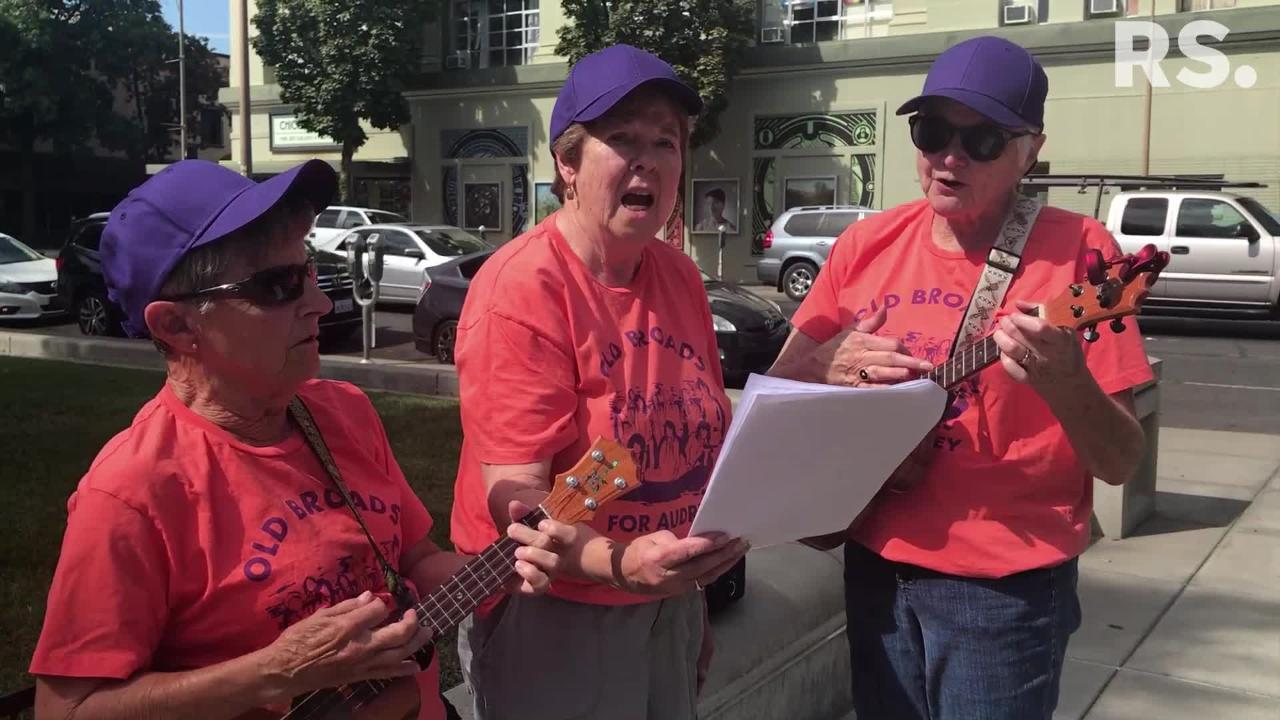 """The """"Old Broads for Audrey"""" sing Bob Dylan's """"The Times They Are a-Changin'"""" with lyrics for congressional hopeful Audrey Denney last month in Chico."""