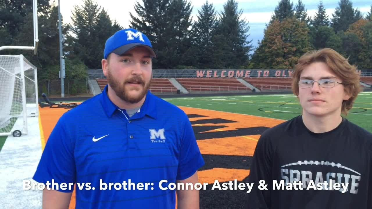 McNary assistant football coach Connor Astley and Sprague football player Matt Astley are brothers and face each other on Friday.
