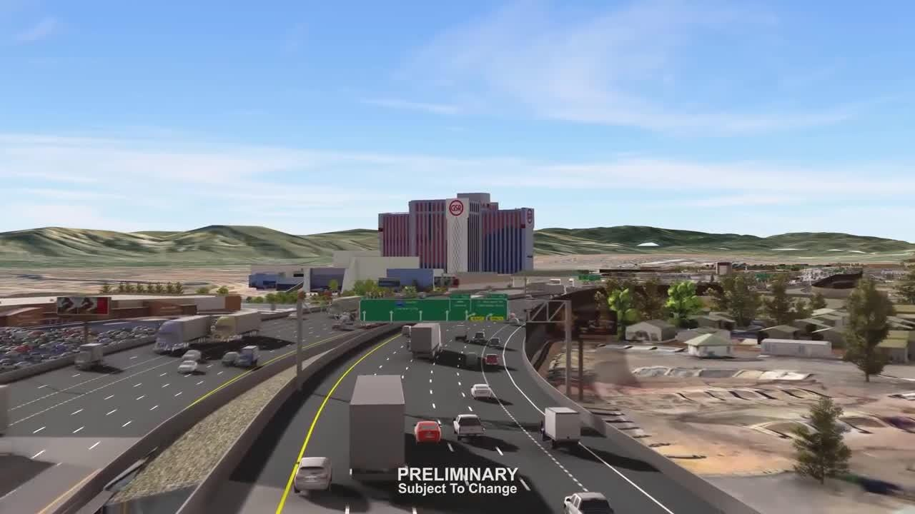 An early 3D rendering of the Nevada Department of Transportation's proposed Spaghetti Bowl Xpress interstate exchange project in Reno.