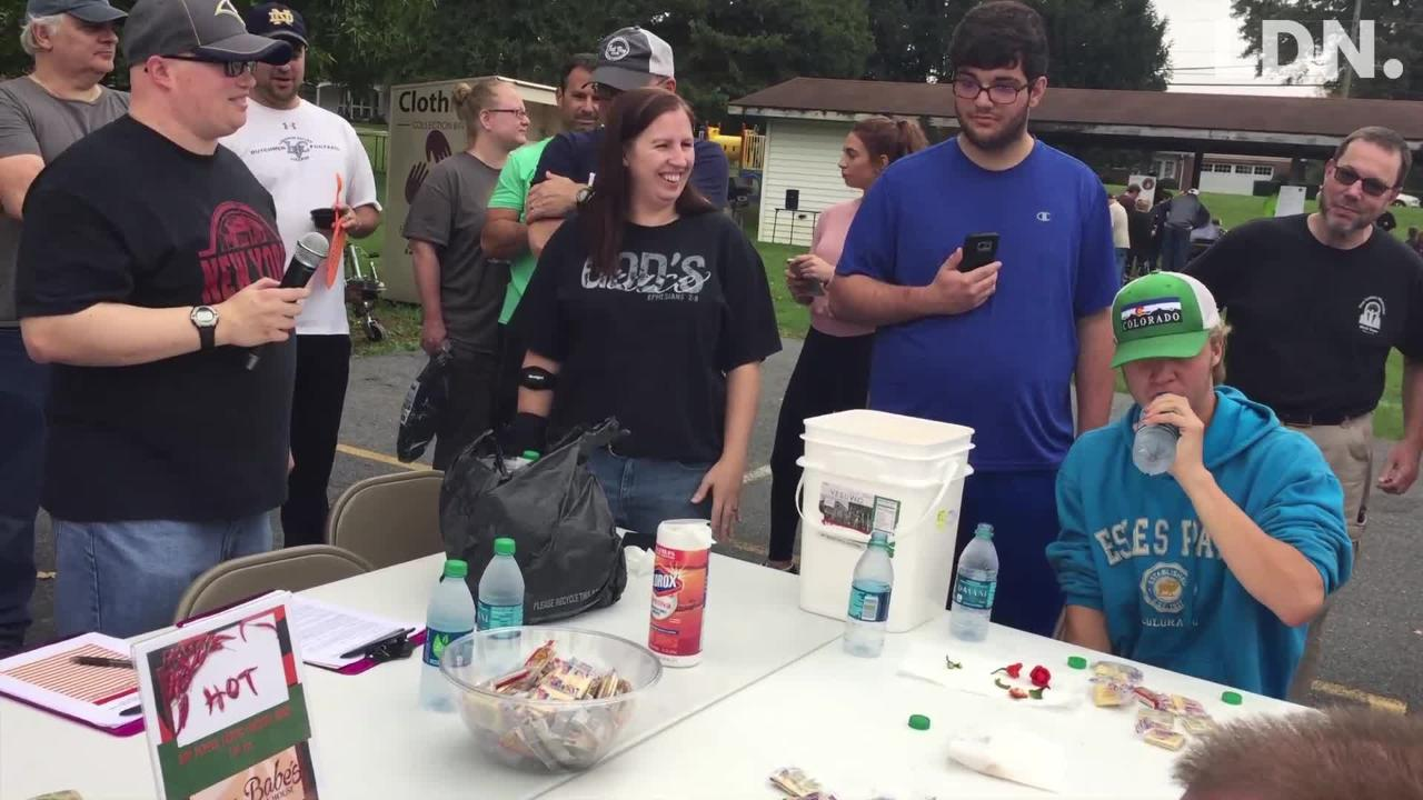A hot pepper eating contest was part of the Palmyra Chili Fest sponsored by First United Methodist Church on Birch Street.