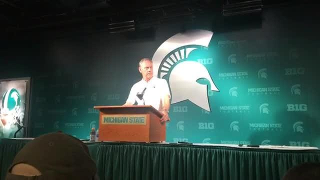 Michigan State coach Mark Dantonio discusses the play of the offense and quarterback Brian Lewerke after loss to Northwestern, Oct. 6, 2018.