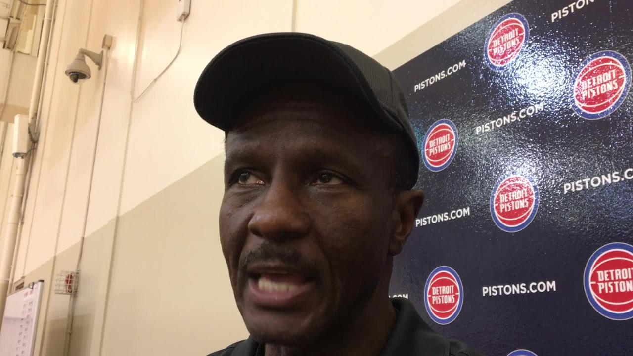 Detroit Pistons coach Dwane Casey speaks to the media after practice on Sunday, Oct. 7, 2018, in Auburn Hills.