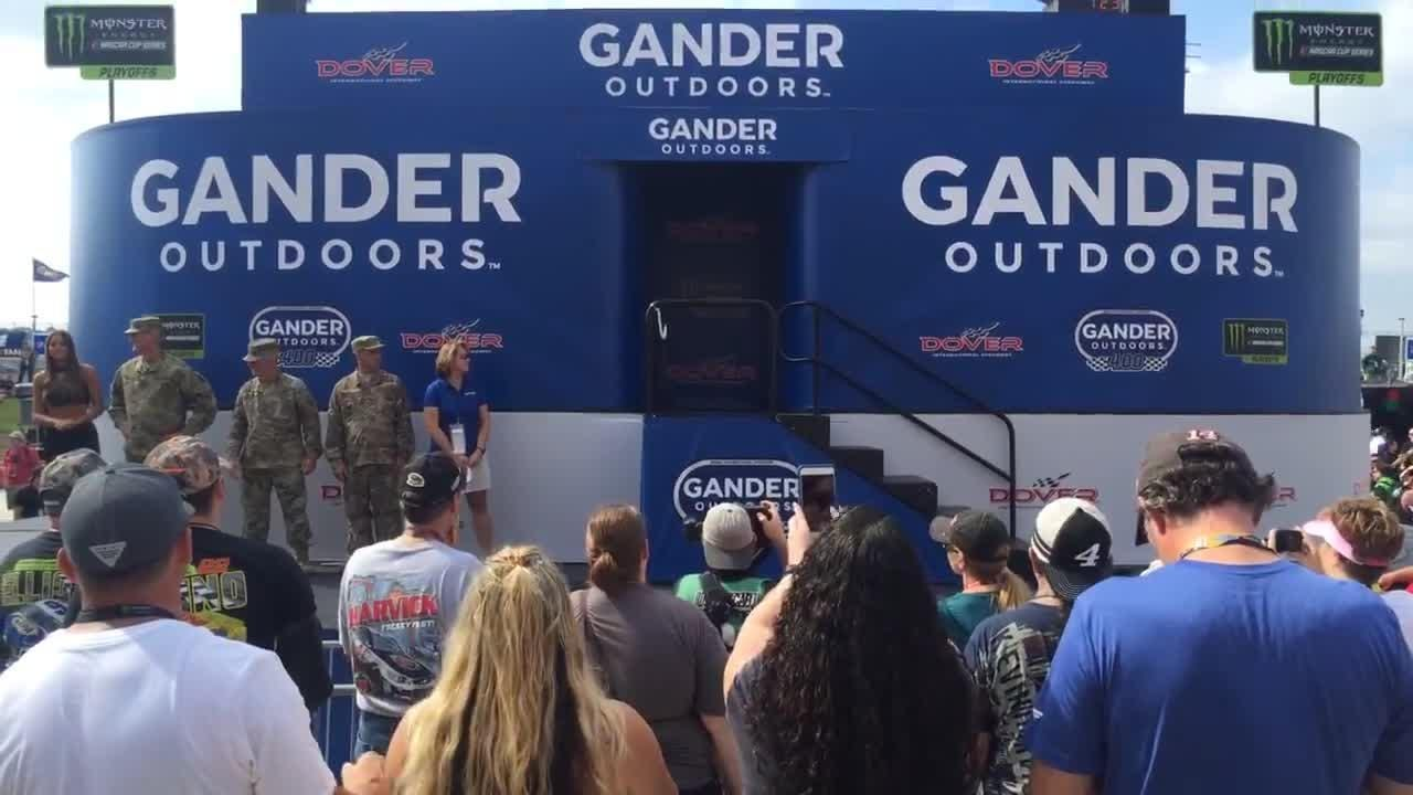 The drivers are introduced at Dover International Speedway before the Gander Mountain 400 on the Monster Mile.
