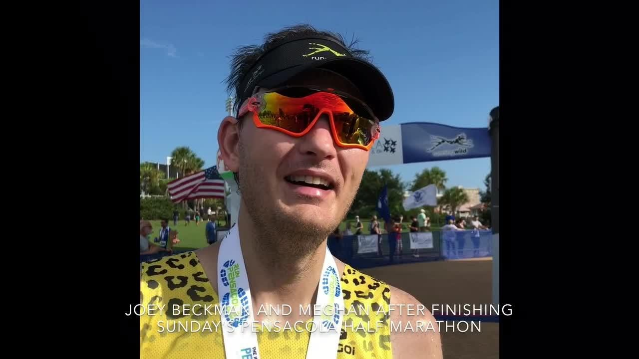 Pensacola's Joey Beckman has new feat as blind distance runner in completing Pensacola Half Marathon.