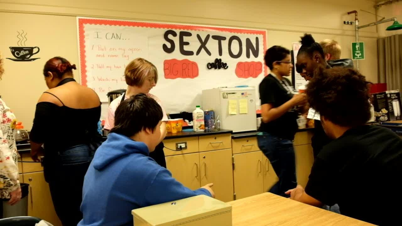 Sexton High School cognitively impaired students learn important skills.