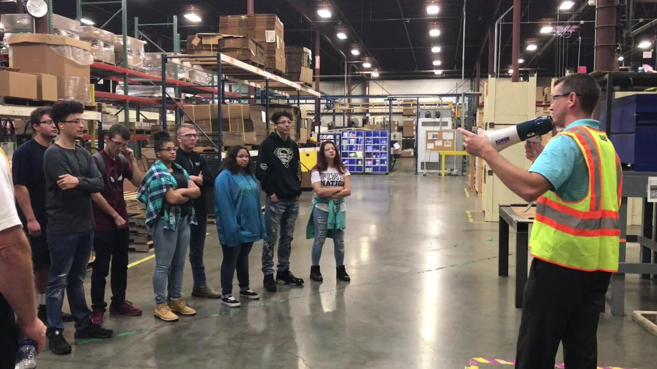 Zanesville High School students tour The BILCO Company on Manufacturing Day.