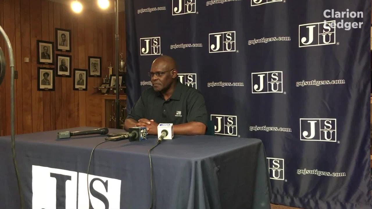 Jackson State head coach Tony Hughes answer question from local media during a press conference Monday, October 8, 2018.