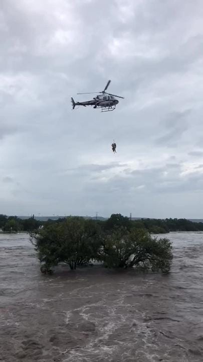 Multiple people were rescued from flooding in Junction, Texas, after heavy rains swelled the South Llano River into flood stage.