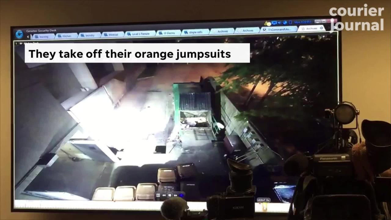 Surveillance video shows how Louisville inmates used trashcans to escape