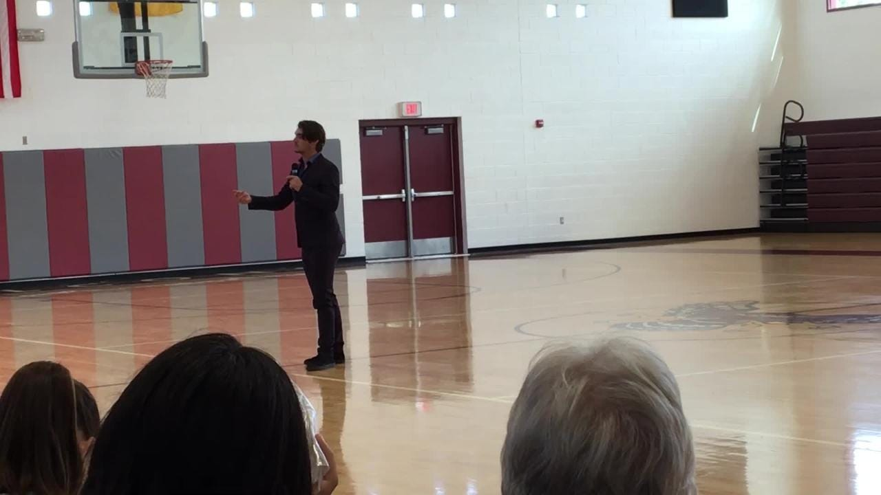 RJ Mitte speaks to Sierra Middle School students about bullying prevention.