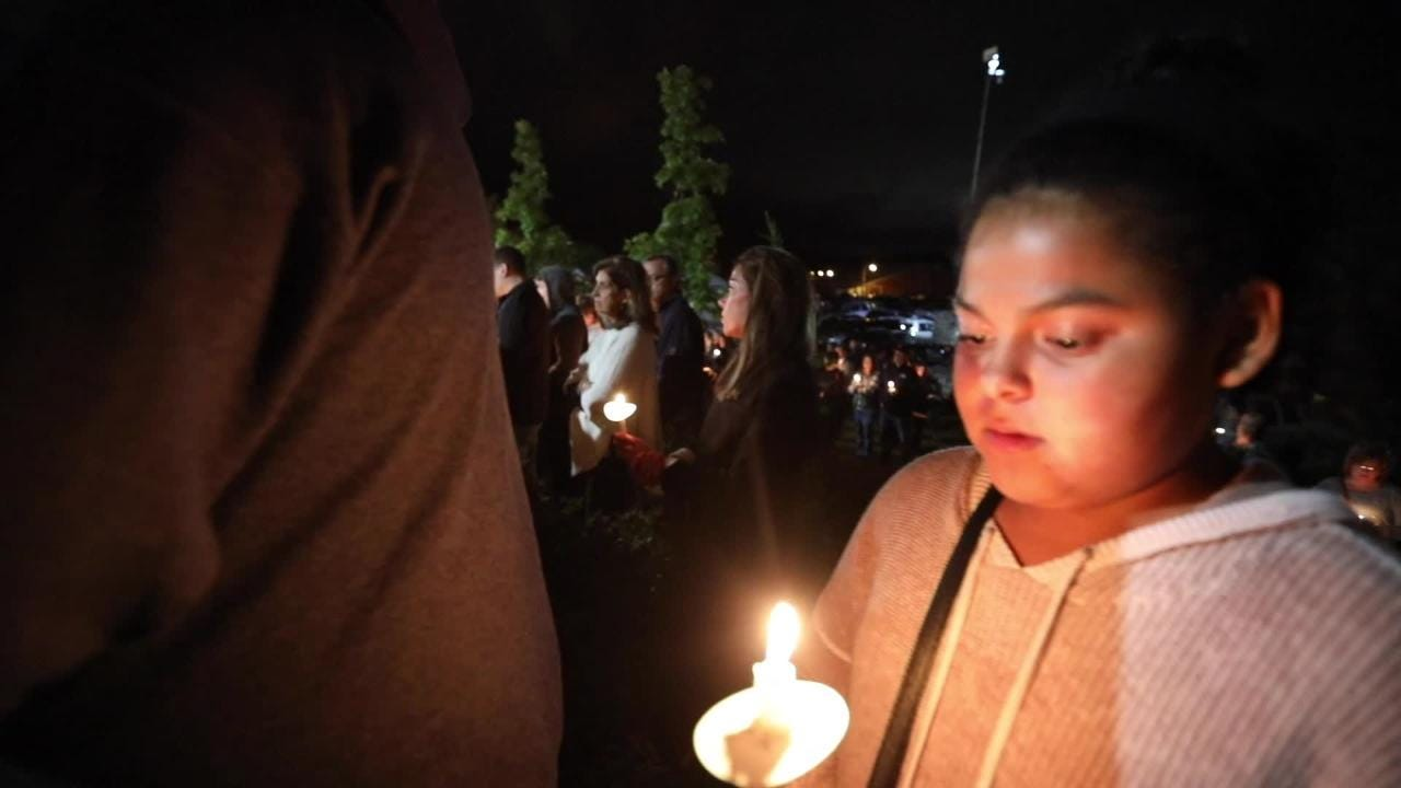 A vigil is held for the victims of the Schoharie accident at the Gateway  Overlook in Amsterdam, New York.