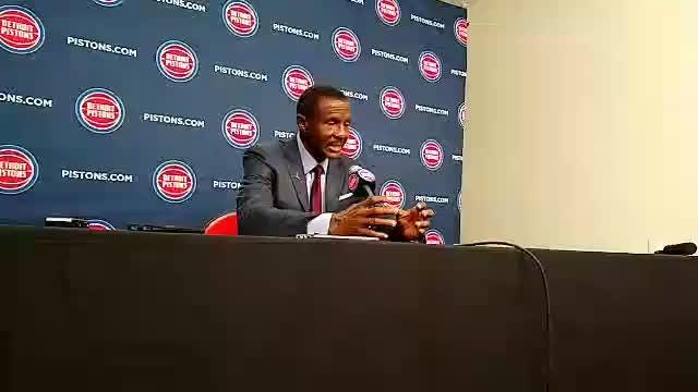 Detroit Pistons coach Dwane Casey discusses rotations, Bruce Brown and Langston Galloway after exhibition loss to Nets, Oct. 8, 2018.