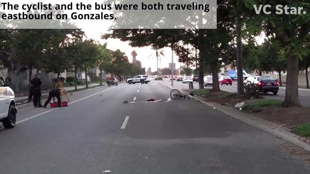 A 60-year-old bicyclist was killed Monday after his bike veered in front of a bus in Oxnard, officials said.