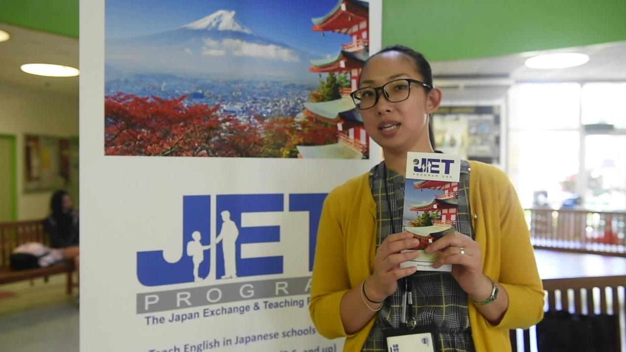 JET Program Coordinator Naoko Leasiolagi discusses the JET Program at the University of Guam Student Center on Oct. 9, 2018.