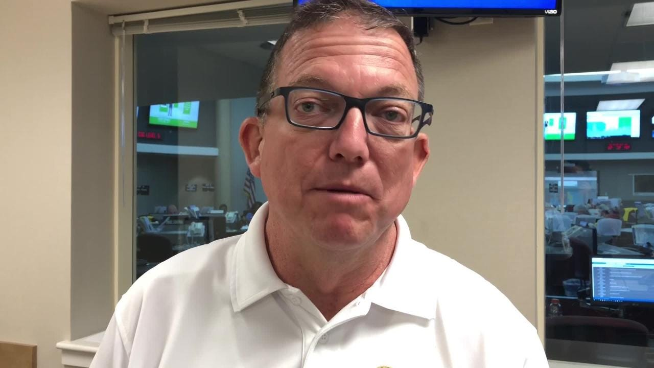 Escambia County Public Safety Director Mike Weaver gives an update Tuesday night on Hurricane Michael.