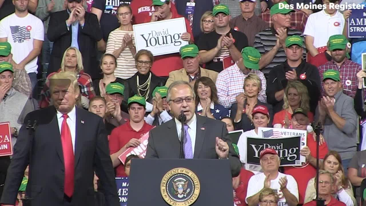 Iowa Rep. David Young speaks to the crowd during President Donald Trump's rally in Council Bluffs.
