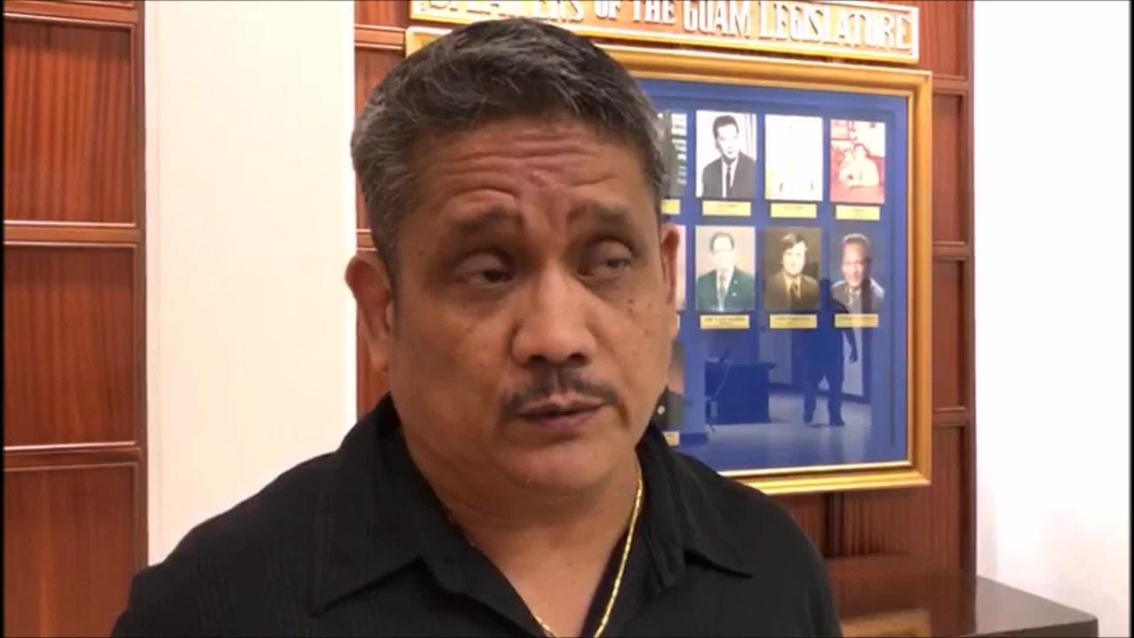 Police Lt. Stephen A. Amaguin, deputy precinct commander for the Hagatna Precinct Command, on Wednesday testifies in support of Sen. Telena Nelson's bill seeking to criminalize disarming peace officers. No other law enforcement official came to testify on Bill 324, which was introduced a few days af
