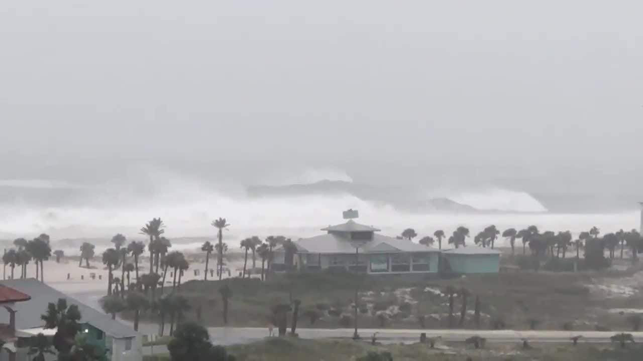 Watch the surf hit the shore as Hurricane Michael prepares for landfall